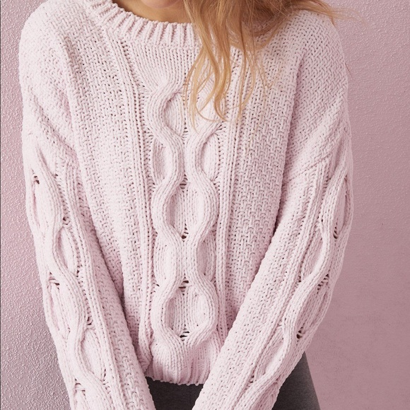 GARAGE Soft Chenille Blush Pink Boxy Sweater